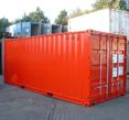 container verniciato e protetto con antiruggine all'acqua e smalto all'acqua rosso Plack