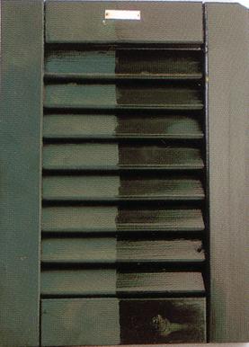 Ripristino effettuato con vernice da ripristino cerosa trasparente IA 1553 00 su persiane già verniciati con smalto verde
